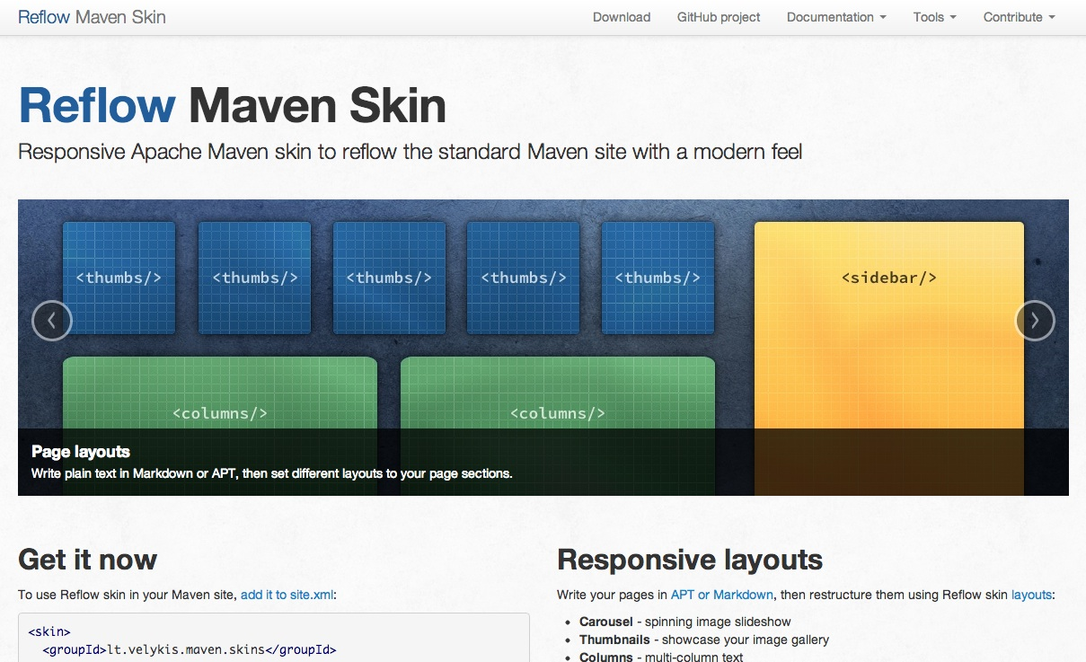Reflow Maven skin in action